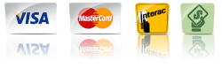 we take visa, mastercard, interac and cash